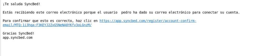 Email de confirmacion syncbed