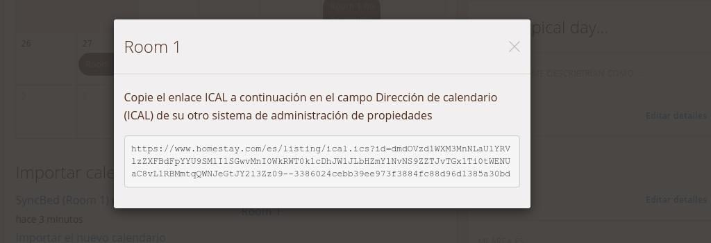 Copiar URL Calendario Ical HomeStay