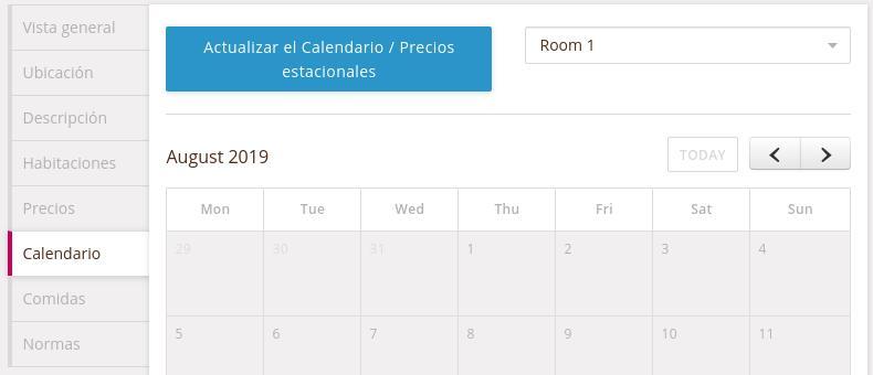 Calendario reservaciones HomeStay